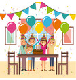 happy family celebration birthday cake decoration vector image