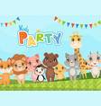 jungle animals background celebration placard or vector image