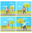 man and woman driving or going in park vector image vector image