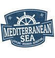 mediterranean sea sign or stamp vector image vector image