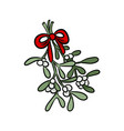 mistletoe hand drawn colorful sticker doodle vector image vector image