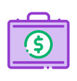 money dollars case icon outline vector image
