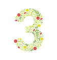 number 3 green floral made leaves vector image vector image