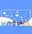 people group flying hearts icon on blue background vector image vector image