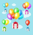realistic 3d detailed color balloons and present vector image vector image
