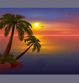 romantic sunset on tropical island palm trees vector image