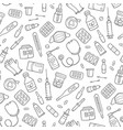 seamless doodle pattern with medications drugs vector image vector image