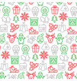 seamless pattern with icons christmas items vector image vector image