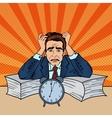 Stressed Businessman Sunk Up in Paperwork Pop Art vector image vector image