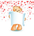 teddy bear paper scroll in paw isolated vector image vector image