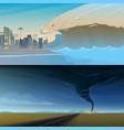 tsunami and twisting tornado or storm from big vector image vector image