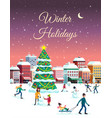 winter holidays city poster vector image vector image