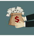 Hand and money bag vector image