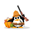 penguin on a safari abstract humorous image of a vector image