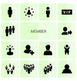 14 member icons vector image vector image