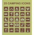 25 camping icons vector image