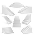 3d realistic white stairs icon set closeup vector image