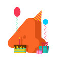 4 year birthday sign 4th template greeting card vector image vector image