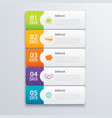 5 infographic tab index banner design and vector image vector image