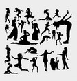 action male and female gesture activity silhouett vector image vector image