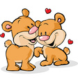 bear in love isolated on white background vector image vector image