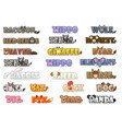 Big set cute cartoon text name animals funny font