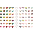 Big set with different stylized hearts vector image