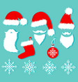 christmas set in flat style santa hats and beards vector image
