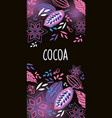 cocoa beans label design with cocoa plant vector image