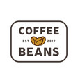 coffee beans logo vintage label product vector image