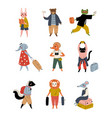 collection cute animals tourists with suitcases vector image vector image