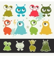 Collection of cute cartoon little monsters vector image vector image