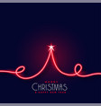 creative red neon christmas tree background vector image