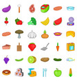 dinner icons set cartoon style vector image vector image