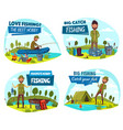 fisherman and fishing sport items vector image