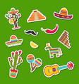 flat mexico attributes sticker set vector image vector image