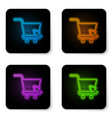 glowing neon shopping cart with cursor icon vector image vector image