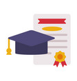 graduation cap and diploma back to school concept vector image