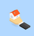 hand holds the house isometric vector image vector image