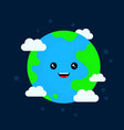 happy funny cute smiling earth character vector image