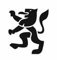 heraldic lion black icon vector image vector image