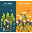 Hiking Banner With Tourists And Equipment vector image