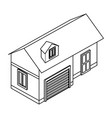 house isometric scenery in black and white vector image vector image