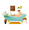 man or freelancer working at bathroom busy person vector image vector image