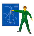 military man show blueprint with aircraft vector image vector image