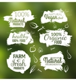 natural organic food label Farm products vector image vector image