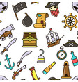 nautical symbols pirate seamless pattern marine vector image