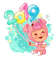 New year card chinese year symbol pig