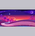 nocturnal landscape with a big star in the sky vector image vector image