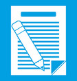 paper and pencil icon white vector image vector image